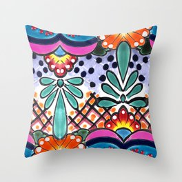 Colorful Talavera, Pink Accent, Large, Mexican Tile Design Throw Pillow