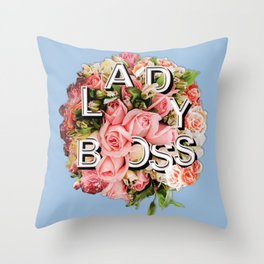 Lady Boss Floral Bouquet Throw Pillow