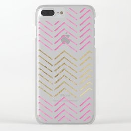 Pink faux gold watercolor tribal chevron pattern Clear iPhone Case