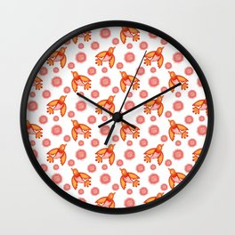 Little pretty orange swallows birds, dusty pink blooming roses seamless vintage retro white pattern Wall Clock
