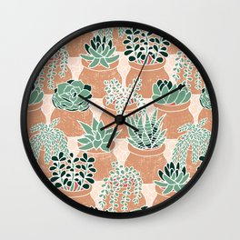 Succulent's Tiny Pots Wall Clock