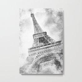 PARIS Watercolor Eiffel Tower | black and white Metal Print
