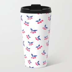 Seamless floral berry cherry pattern on white background Metal Travel Mug