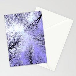 Black Trees Lavender Sky Stationery Cards