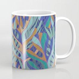 Tropical palms, blue green pattern Coffee Mug