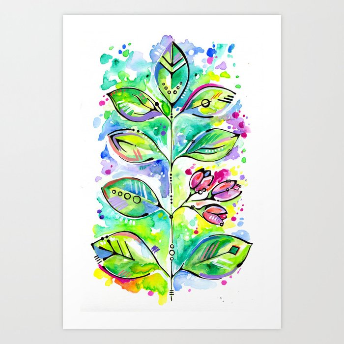 Sunday's Society6 | Spring art print, summer leaves and flowers