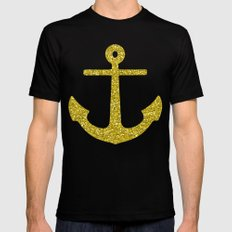 Gold Anchor Mens Fitted Tee MEDIUM Black