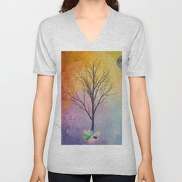 Chakra Tree of Crystals Unisex V-Neck