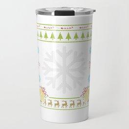 Snowflake Christmas Ugly Sweater Design Shirt Travel Mug