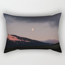 Moon over blackness and red pink ice Rectangular Pillow