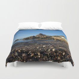 Meadfoot Beach Huts And Imposing Cliffs Duvet Cover