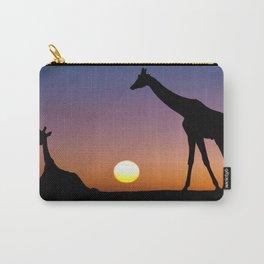 giraffe in sunset Carry-All Pouch