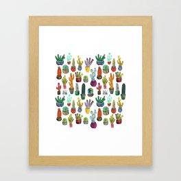 Funky Rainbow Cactus Pattern Framed Art Print