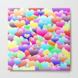 Bubble Hearts Dark Metal Print