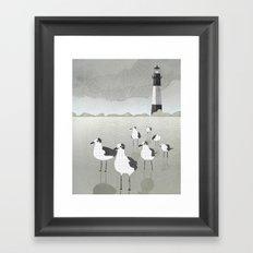 Seagulls Lighthouse Framed Art Print
