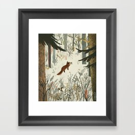 Fox In Snow Framed Art Print