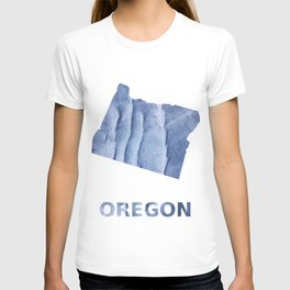 Oregon map outline Blue watercolor T-shirt