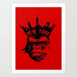 King of New York - Red Art Print