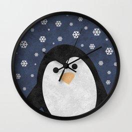 Christmas Penguin Marble Wall Clock