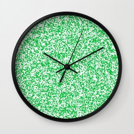 Tiny Spots - White and Dark Pastel Green Wall Clock