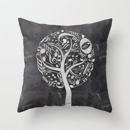 Music tree on chalkboard Throw Pillow