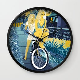 The girls on the bike Wall Clock
