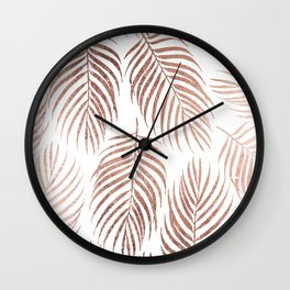 Stylish elegant rose gold foil palm tree leaves Wall Clock
