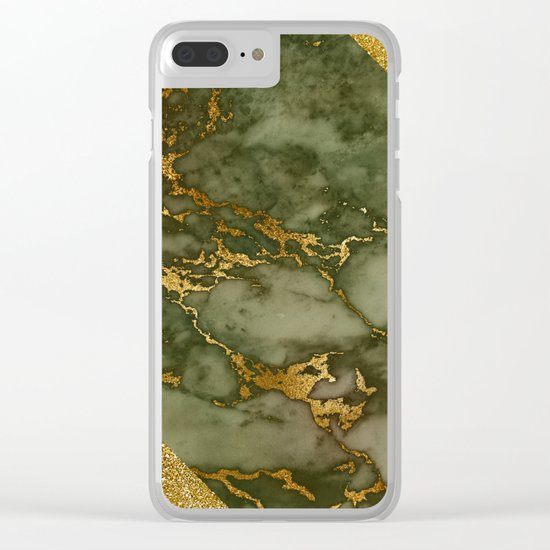 Green Marble with Gold and Glitter I Clear iPhone Case
