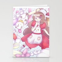 puppycat Stationery Cards featuring Bee & puppycat ver 2 by Kurodoj