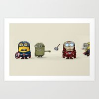young avengers Art Prints featuring Minion Avengers by CforCel