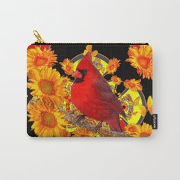 BUTTERFLIES  RED CARDINAL SUNFLOWERS BLACK ART Carry-All Pouch