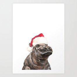 Christmas Baby Hippo Kunstdrucke