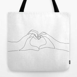 Hand Heart Tote Bag