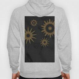 Gold Flower Mandalas over Black Marble Hoody