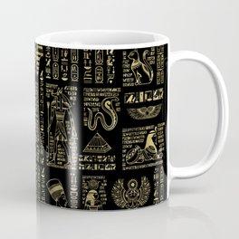 Egyptian hieroglyphs and deities gold on black Coffee Mug