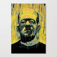 frankenstein Canvas Prints featuring Frankenstein by nicebleed