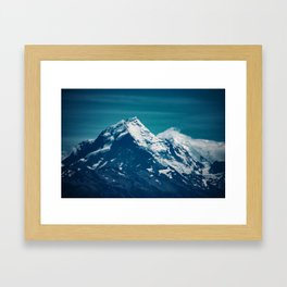 Aoraki Mount Cook glacier summit Framed Art Print