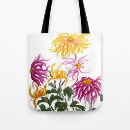 yellow and purple chrysanthemum watercolor Tote Bag