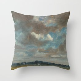 John Constable - Extensive Landscape with Grey Cloud Throw Pillow