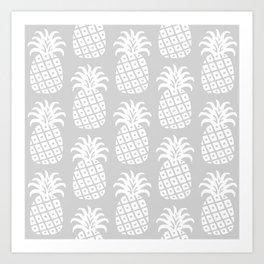Retro Mid Century Modern Pineapple Pattern 732 Gray Art Print