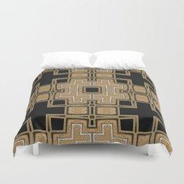 Black Gold Geometry Duvet Cover