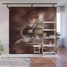 Awesome seadragon with ship Wall Mural