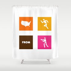 America Runs From Zombies Shower Curtain