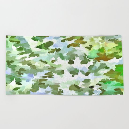 Foliage Abstract Pop Art In White Green and Powder Blue Beach Towel