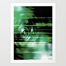 Green music speakers Art Print