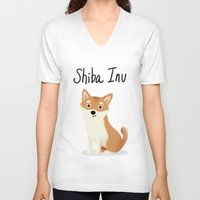 shiba inu V-neck T-shirts featuring Shiba Inu - Cute Dog Series by Cassandra Berger