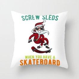 Skateboard Santa Claus Christmas Throw Pillow