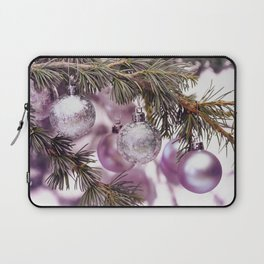Pink Christmas shimmering baubles twig Laptop Sleeve
