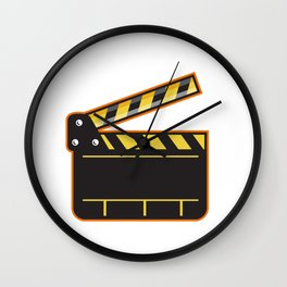 Movie Camera Slate Clapper Board Open Retro Wall Clock