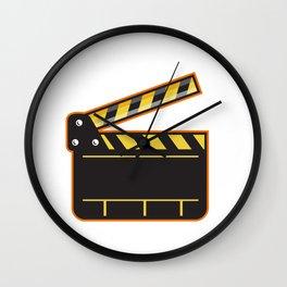 Movie Camera Slate Clapper Board Open Retro Wall Clock